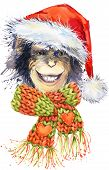 Постер, плакат: New Year monkey Santa Clause graphics monkey chimpanzee illustration