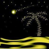 pic of glow-worm  - Vector Christmas palm tree with falling star in desert - JPG