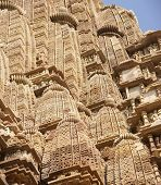 picture of kandariya mahadeva temple  - Shikara tower geometric decorations Kandariya Mahadeva Temple at Khajuraho India - JPG
