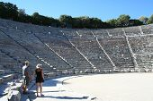 stock photo of epidavros  - people at the historical theatre of epidavros - JPG