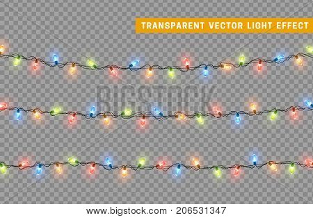 poster of Christmas lights isolated realistic design elements. Glowing lights for Xmas Holiday greeting card design. Garlands decorations. Led neon lamp