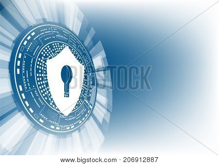 Cyber security concept: Shield with keyhole icon on digital data background. Illustrates cyber data security or information privacy idea. Blue abstract hi speed internet technology. picture