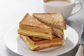 Grilled Cheese Sandwich Of Wholegrain Bread With Coffee For Healthy Breakfast. poster