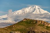 Постер, плакат: Hill landscape at morning in Armenia with Ararat mountain at background View on Turkey from Armenia