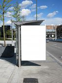 stock photo of bus-shelter  - Blank Bus Stop Billboard - JPG