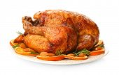 Plate with roasted turkey on white background poster