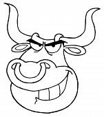 image of nose ring  - Outlined Angry Bull Face With Nose Ring - JPG