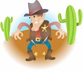image of gunslinger  -  An illustration of a cowboy sheriff gunslinger    - JPG