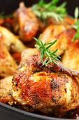 picture of roast chicken  - Tasty roasted chicken with vegetable and herbs