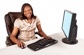 stock photo of business-office  - Smiling and Beautiful African American Businesswoman - JPG