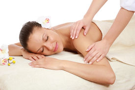 stock photo of spa massage  - An attractive woman getting spa treatment - JPG