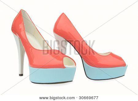 Постер, плакат: Розовый синий белый высокие каблуки открытых ног насос обувь, холст на подрамнике