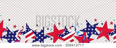 poster of Fourth Of July Background. 4th Of July Holiday Long Horizontal Border. Usa Independence Day Decorati