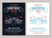 Set Of 2 Academic Posters. Vector Illustration For Prom Night Party Invitations And Another For Grad poster