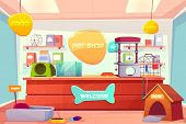 Pet Shop Interior, Domestic Animal Store With Counter Desk, Accessories, Food, Cat And Dog Houses, T poster