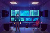 Hacker Anonymous In Mask In Server Room With Multiple Computer Monitors Displaying Secret Informatio poster