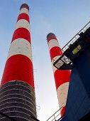 stock photo of lightning-rod  - old white and red brick industrial chimney - JPG
