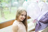 Wishing A Happy Holiday. Happy Small Child Enjoying Her Birthday Holiday. Adorable Little Girl Celeb poster