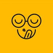 Hungry, Tongue And Slobber, Tongue And Saliva, Yum Emoji, Hipster With Glasses Sticker, Emoticon Del poster