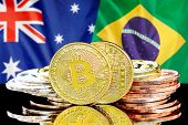 Concept For Investors In Cryptocurrency And Blockchain Technology In The Australia And Brazil. Bitco poster