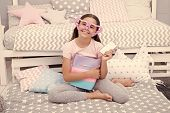 Birthday Concept. Happy Girl Got Birthday Presents. Little Child In Fancy Glasses Smile With Smartph poster