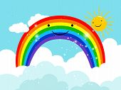 Rainbow In Sky. Cartoon Smiling Rainbow In Clouds With Bright Sun Vector Illustration poster