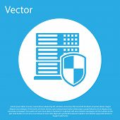Blue Server With Shield Icon Isolated On Blue Background. Protection Against Attacks. Network Firewa poster