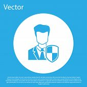 Blue User Protection Icon Isolated On Blue Background. Secure User Login, Password Protected, Person poster