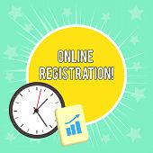 Writing Note Showing Online Registration. Business Photo Showcasing Process To Subscribe To Join An  poster