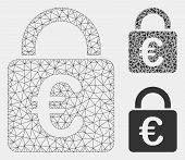 Mesh Euro Lock Model With Triangle Mosaic Icon. Wire Carcass Polygonal Mesh Of Euro Lock. Vector Col poster
