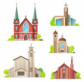 Church Buildings, Cathedral, Chapels And Monastery Facades Icons. Vector Isolated Medieval Cathedral poster