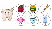 Sick Kawaii Tooth With Caries And Bloom And Junk Food - Chocolate, Coffee, Sweets, Burger, Bad Habit poster