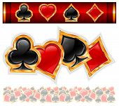 pic of ace spades  - Set of shiny card suit icons in black and red vector illustration - JPG