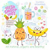 Fresh Smoothie Recipe Cute Kawaii Characters. Fruits Ingredients Glass Jar Vitamin Funny Style. Bana poster