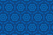 Blue Abstract Background Pattern Textured, Lines And Symmetrical Shapes poster