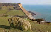 View Of The Cliffs At Salcombe Regis Beach From The South West Coastal Path On Salcombe Hill Cliff A poster