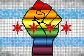 Shiny Lgbt Protest Fist On A Chicago Flag - Illustration,  Abstract Mosaic Chicago And Gay Flags poster