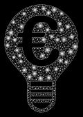 Bright Mesh Euro Bulb With Lightspot Effect. Abstract Illuminated Model Of Euro Bulb Icon. Shiny Wir poster