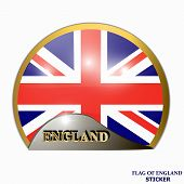 Made In England Sticker. Bright Sticker With Flag Of England. Illustration With Flag. Happy England  poster