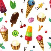 Watercolor Ice Cream Pattern With Berries, Fruits And Mint Leaves. Swamless Icecream Pattern poster
