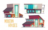 Modern Houses Cartoon Vector Set Isolated On White Background. Contemporary Architecture Cottage Hou poster