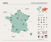 Vector Map Of France. Country Map With Division, Cities And Capital Paris. Political Map,  World Map poster