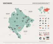 Vector Map Of Montenegro. Country Map With Division, Cities And Capital Podgorica. Political Map,  W poster