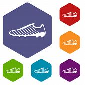 Football Boots Icon. Simple Illustration Of Football Boots Vector Icon For Web poster