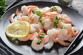 Fresh Prawns. Raw Shrimps, Prawns In A Plate On A Dark Background. Seafood. Fresh Prawns. Raw Shrimp poster