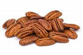 Pile Pecan Nuts Isolated On White Background. Heap Shelled Pecans Nut Closeup. Tasty Raw Organic Foo poster