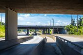 Under The Bridge On The Motorway. Concrete Construction Of Road Junction. Highway In Europe. Between poster