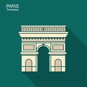 Arc De Triomphe, Paris, France. Travel Paris Icon poster