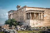 Erechtheion Temple With Caryatid Porch On The Old Acropolis, Athens, Greece. It Is A Famous Landmark poster