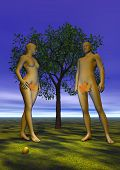stock photo of garden eden  - Naked Adam and Eve with a leaf in front of a tree an apple near their feet in eden garden by night - JPG